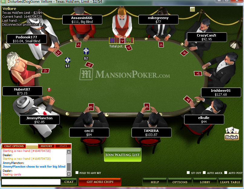 Games available at MansionPoker