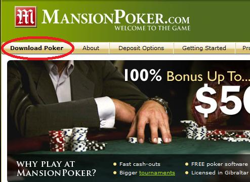 Mansion Poker Game Screen